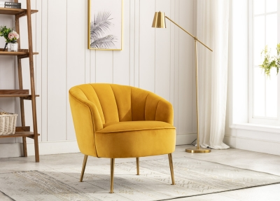 Stella Apricot Fabric Accent Chair