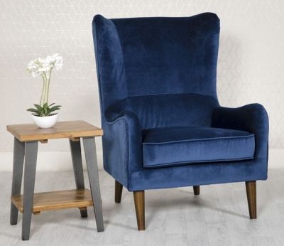 Freya Blue Fabric Winged Back Accent Chair