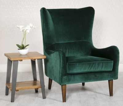 Freya Green Fabric Winged Back Accent Chair
