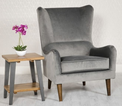 Freya Grey Fabric Winged Back Accent Chair