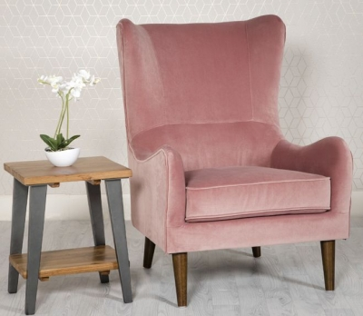 Freya Pink Fabric Winged Back Accent Chair