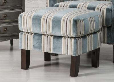 Monet Blue Stripe Fabric Footstool