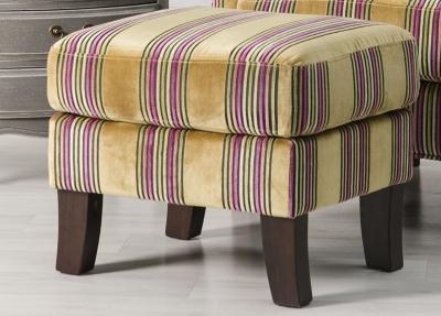Monet Gold Stripe Fabric Footstool