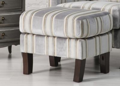 Monet Grey Stripe Fabric Footstool