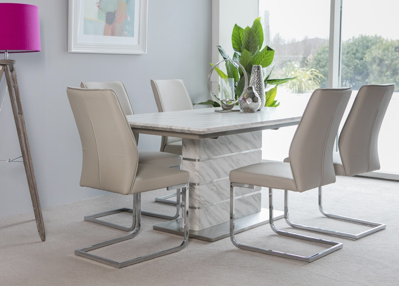 Allure Marble Extending Dining Table and 6 Seattle Chairs - White and Taupe