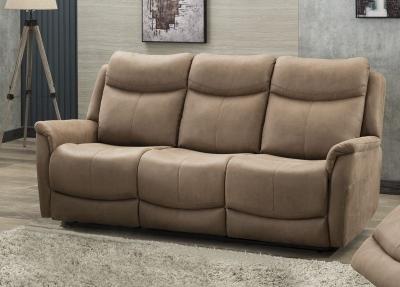 Arizona Caramel Fabric 3 Seater Recliner Sofa