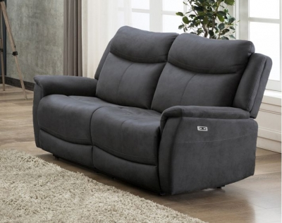 Arizona Slate Fabric 2 Seater Electric Recliner Sofa