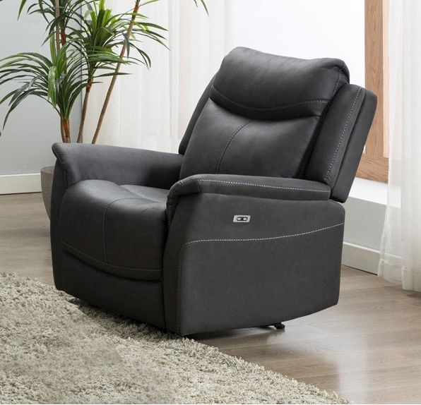 Arizona Slate Fabric Electric Recliner Armchair