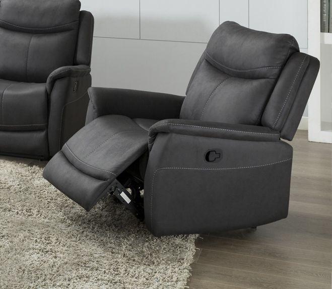 Arizona Slate Fabric Recliner Armchair