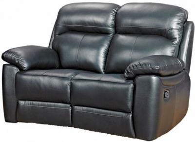 Aston Black Leather 2 Seater Fixed Sofa