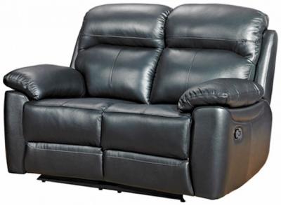 Aston Black Leather 2 Seater Recliner Sofa