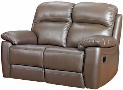 Aston Brown Leather 2 Seater Fixed Sofa