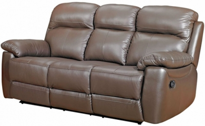 Aston Brown Leather 3 Seater Recliner Sofa