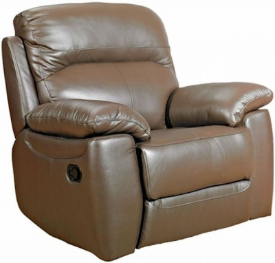 Aston Brown Leather Fixed Armchair