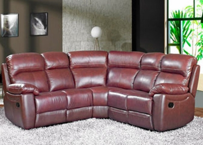 Aston Chestnut Leather Recliner Corner Group