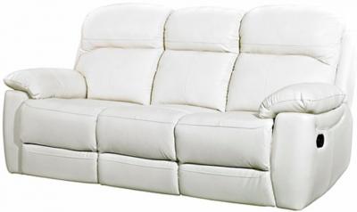 Aston Ivory Leather 3 Seater Fixed Sofa