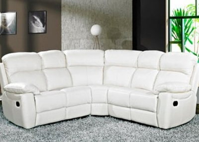 Aston Ivory Leather Recliner Corner Group