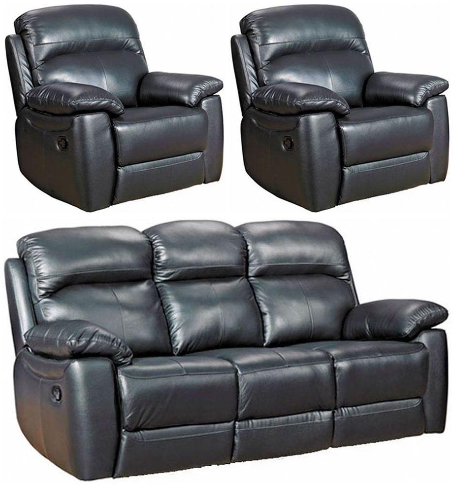 Aston Black Leather 3+1+1 Seater Fixed Sofa Suite