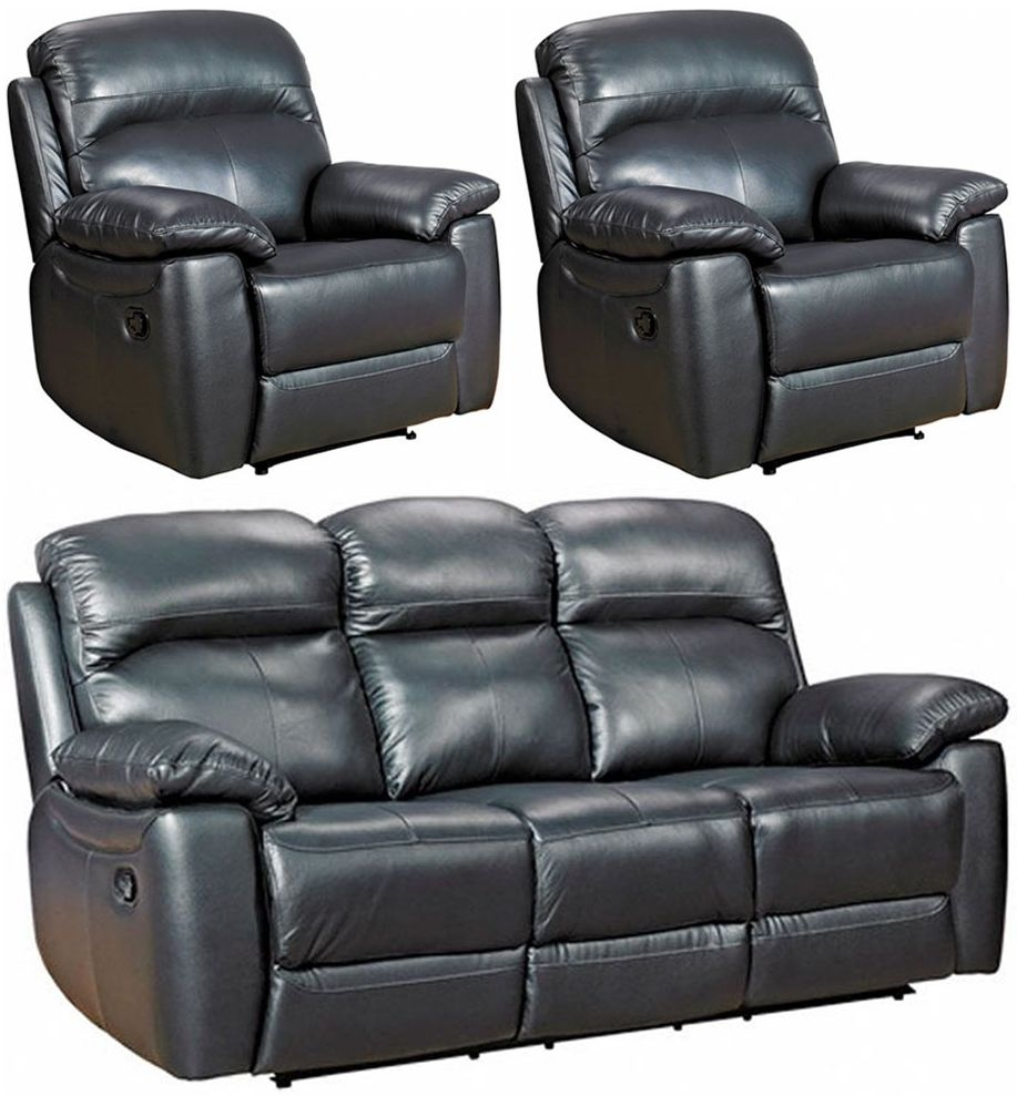 Aston Black Leather 3+1+1 Seater Recliner Sofa Suite