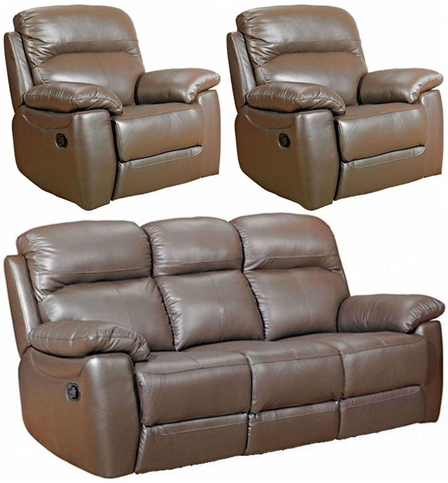 Aston Brown Leather 3+1+1 Seater Fixed Sofa Suite
