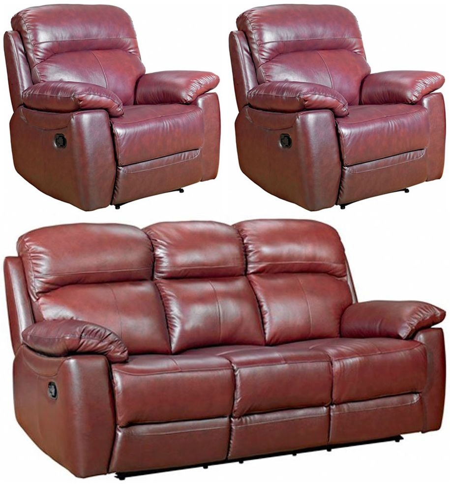Aston Chestnut Leather 3+1+1 Seater Recliner Sofa Suite