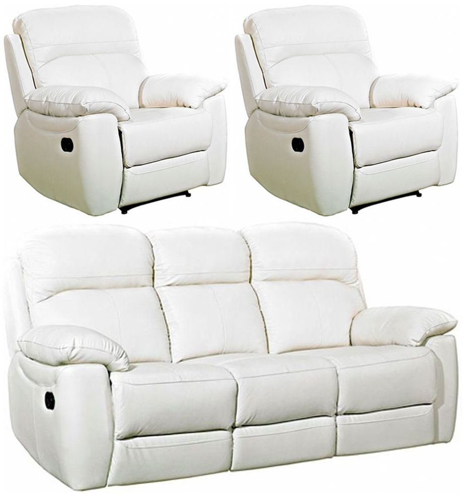 Aston Ivory Leather 3+1+1 Seater Recliner Sofa Suite