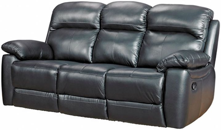Aston Black Leather 3 Seater Fixed Sofa