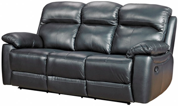 Aston Black Leather 3 Seater Recliner Sofa