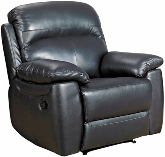 Aston Black Leather Recliner Armchair