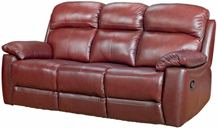 Aston Chestnut Leather 3 Seater Fixed Sofa