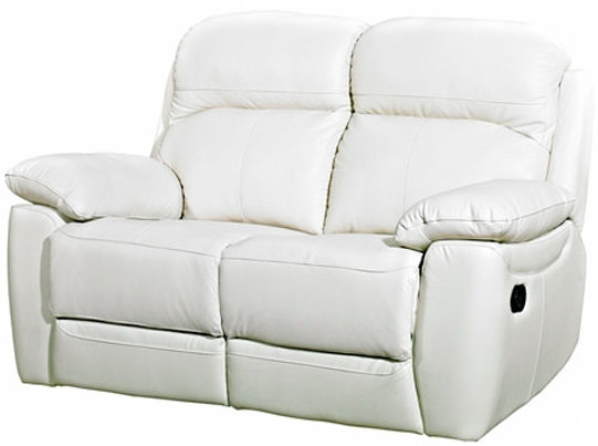 Aston Ivory Leather 2 Seater Fixed Sofa