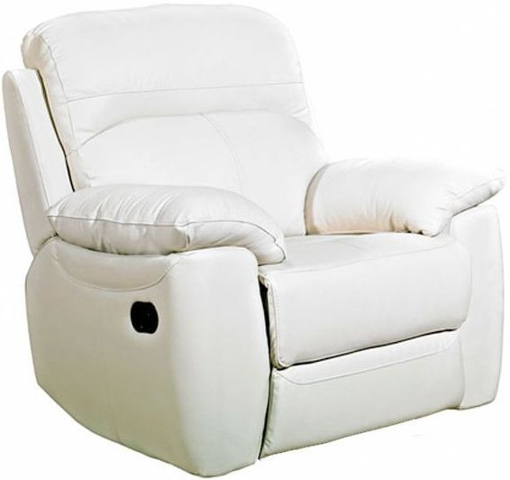 Aston Ivory Leather Fixed Armchair