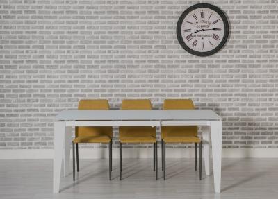 Avanti White Glass Rectangular Extending Dining Set with 4 Milo Yellow Chairs - 120cm-170cm