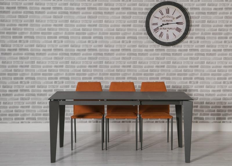 Avanti Grey Glass Dining Set - 120cm-170cm Rectangular Extending with 4 Milo Orange Chairs