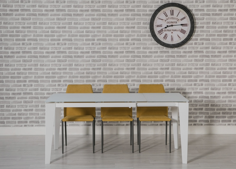 Avanti Glass Extending Dining Table and 4 Milo Chairs - White and Yellow