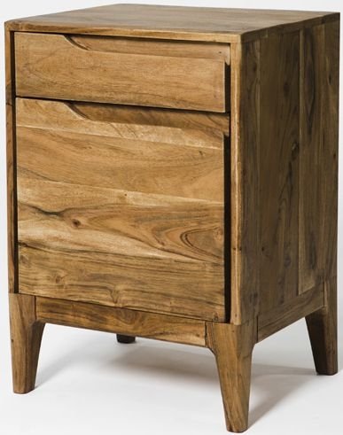 Byron Acacia Wood 1 Door 1 Drawer Bedside Cabinet