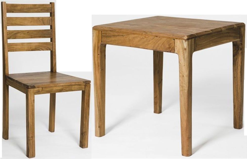 Byron Acacia Wood Square Dining Set with 4 Chairs - 90cm