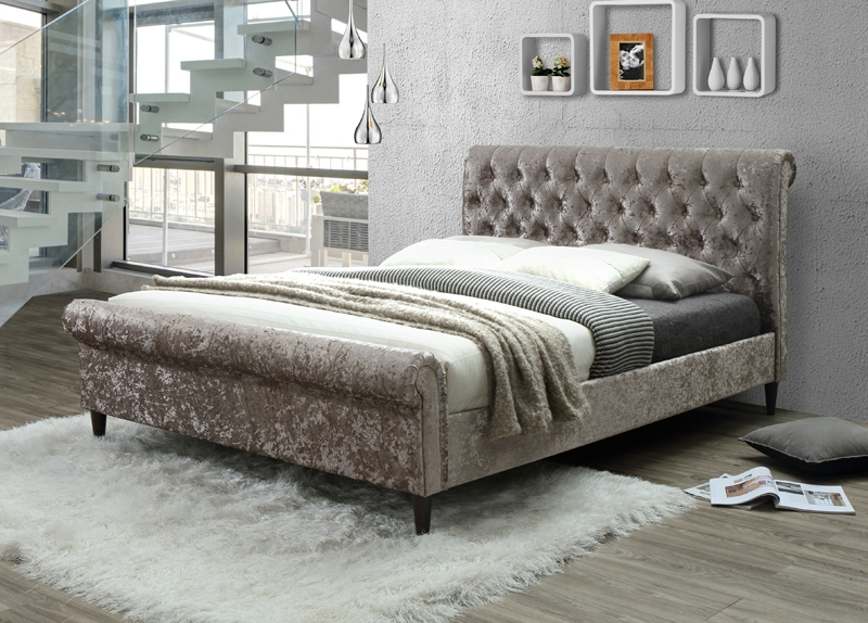 Charlotte Gold Fabric Bed