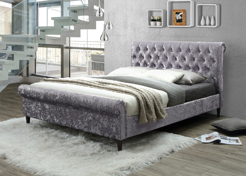 Charlotte Silver Fabric Bed - Sleigh