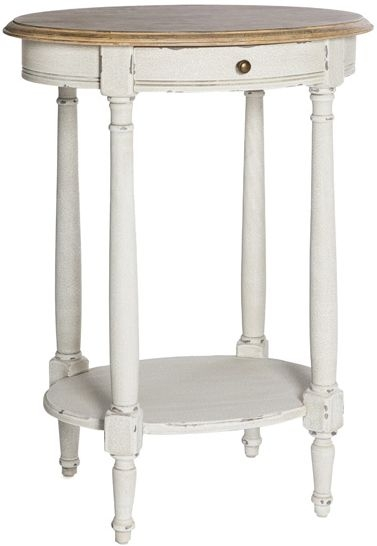 Chateau White Oval 1 Drawer Side Table