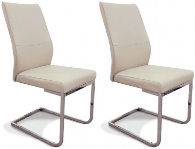 Clearance - Seattle Taupe Faux Leather Dining Chair (Pair) - New - E-261