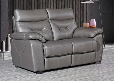 Como Grey Leather 2 Seater Fixed Sofa