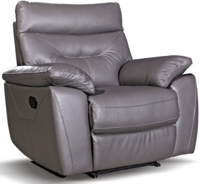 Como Grey Leather Recliner Chair
