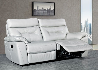 Como Putty Leather 3 Seater Recliner Sofa