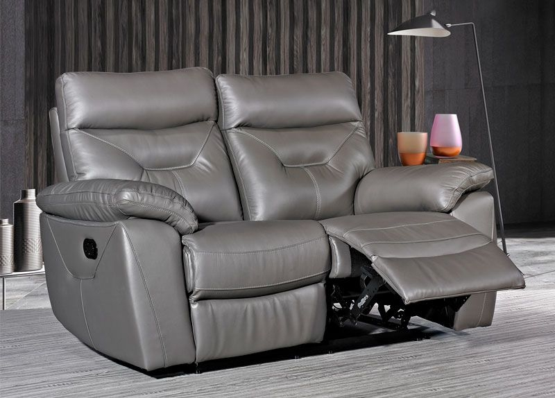 Como Grey Leather 2 Seater Recliner Sofa