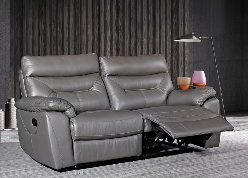 Como Grey Leather 3 Seater Recliner Sofa