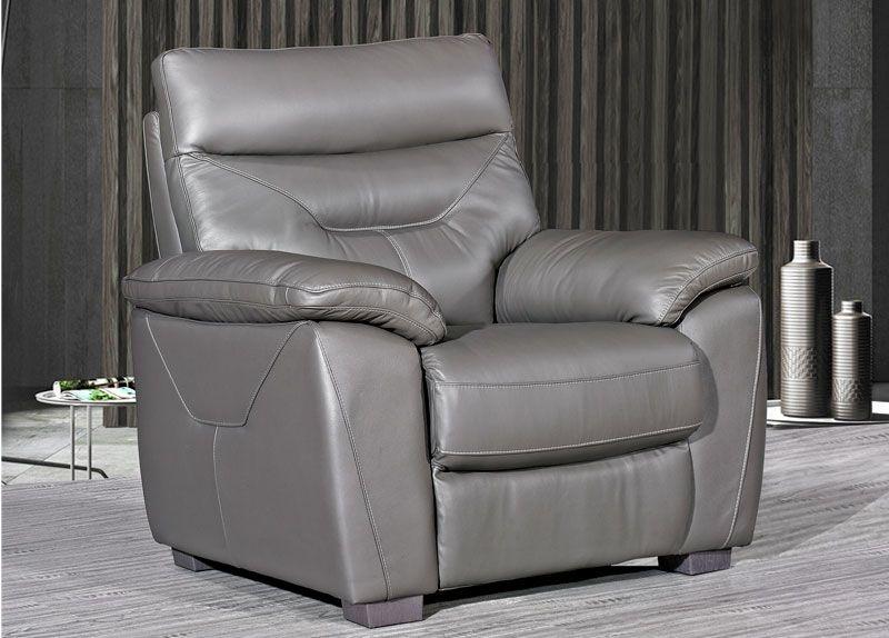 Como Grey Leather Fixed Armchair