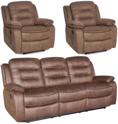 Dakota Fabric 3+1+1 Seater Recliner Sofa Suite