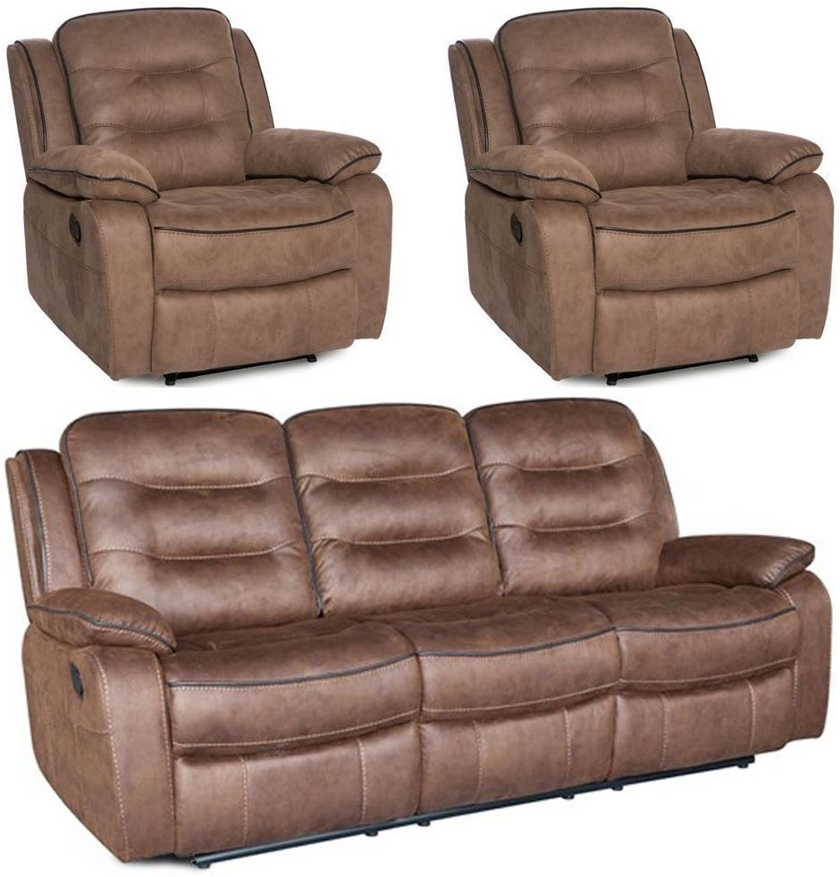 Dakota Fabric 3+1+1 Seater Recliner Sofa Suite