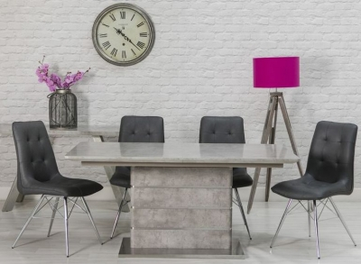 Delta Concrete Dining Table and 4 Tampa Grey Chairs
